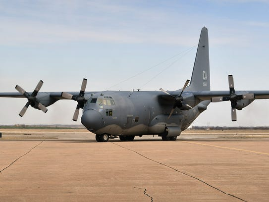 In this file photo, an MC-130 lands at Sheppard Air Force Base. A Department of Defense study released recently shows firefighting foam, used since the 1970s for civilian and military aircraft fires, contains chemicals that may seep into ground and drinking water, posing a possible threat to humans. Tests at Sheppard Air Force Base indicated past use of the foam was not a threat to base drinking-water supplies. The base has replaced almost all stores of the old foam.