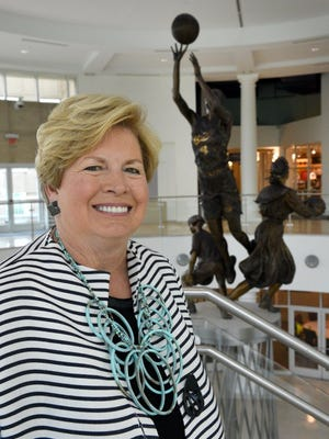 Joan Cronan, former Tennessee women's athletic director, will be inducted into the Greater Knoxville Sports Hall of Fame on Aug. 4. She was photographed at the Women's Basketball Hall of Fame Thursday, Jul. 23, 2015. (MICHAEL PATRICK/NEWS SENTINEL)