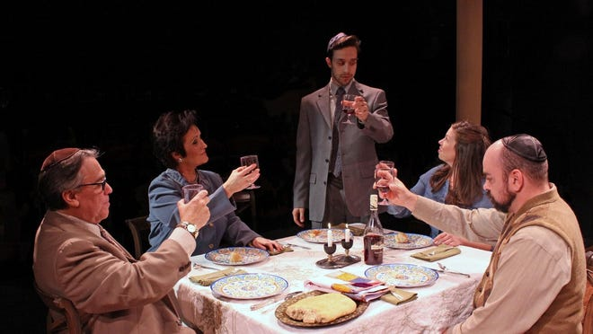 "Dad's birthday dinner: Fred Buchalter, Sandra Birch, Michael Lopetrone, Vanessa Sawson and Patrick Loos in ""Beau Jest"" at the Williamston Theatre."