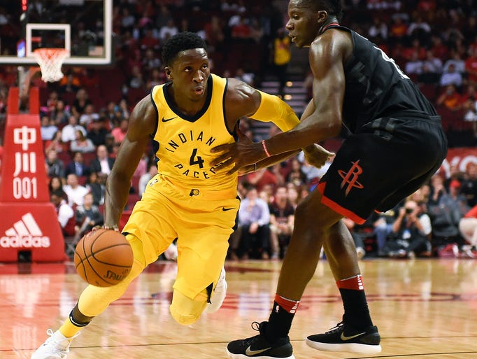 Indiana Pacers guard Victor Oladipo (4) dribbles around