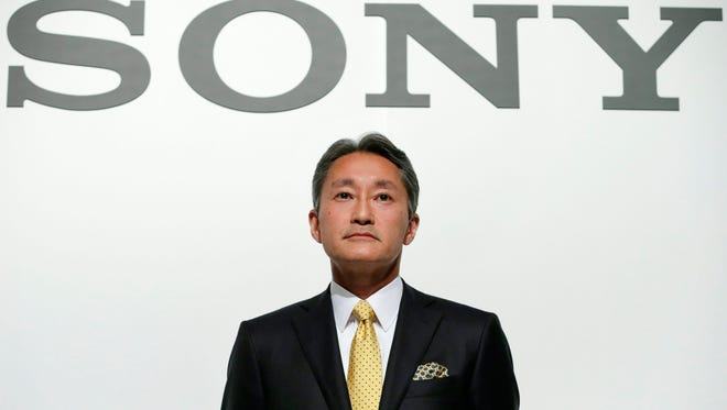 Kazuo Hirai, President and Chief Executive Officer of Sony Corp., takes his seat after announcing its mid-term strategy for fiscal years 2015-2017 at Sony headquarters in Tokyo on Feb. 18, 2015.