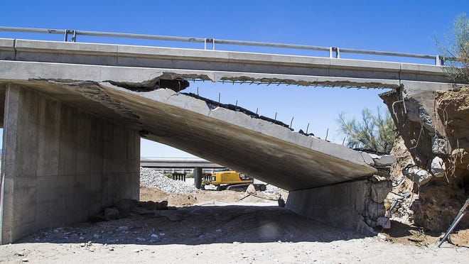 A collapsed section of the bridge that shut down Interstate 10 for days, cutting off a critical artery between Arizona and California.
