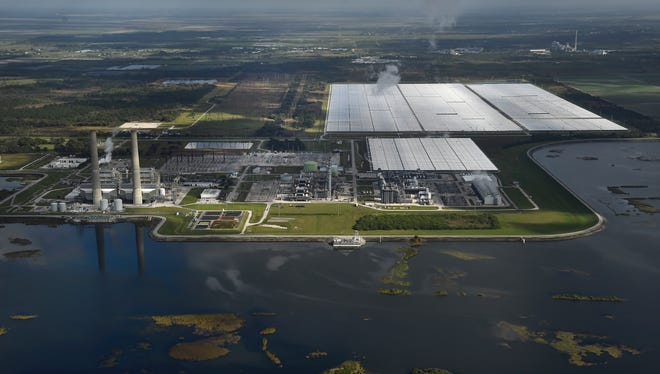 The FPL Martin Next Generation Solar Energy Center, the world's first solar thermal hybrid plant to be integrated into an existing combined cycle power plant, is seen Jan. 7, 2016, near Indiantown in western Martin County. The solar plant opened in 2010 and is spread out over nearly 500 acres.