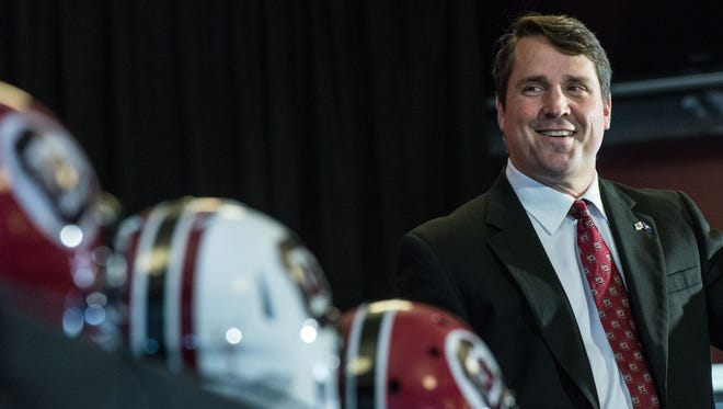 New South Carolina NCAA college head football coach Will Muschamp talks to the media at Williams Brice Stadium Monday, Dec. 7, 2015, in Columbia, S.C.