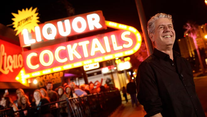 """LAS VEGAS, NV - NOVEMBER 10: TV Personality Anthony Bourdain attends """"Parts Unknown Last Bite"""" Live CNN Talk Show hosted by Anthony Bourdain at Atomic Liquors on November 10, 2013 in Las Vegas, Nevada. 24280_001_0259.JPG  (Photo by Isaac Brekken/WireImage) ORG XMIT: 187644551 ORIG FILE ID: 187626230"""