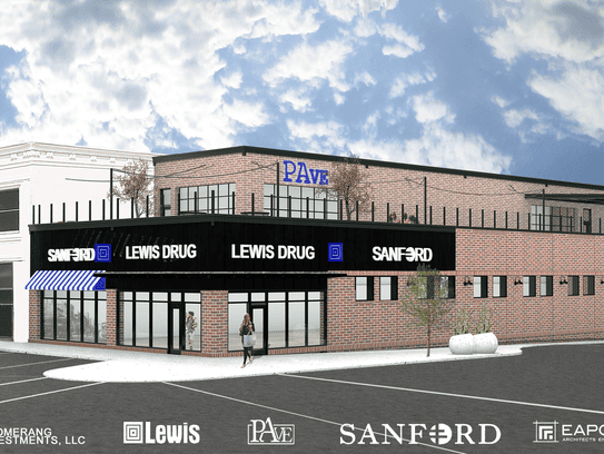 A Sanford clinic, Lewis Drug store and PAve bar will