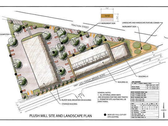 An architectural drawing of the Plush Mill site development
