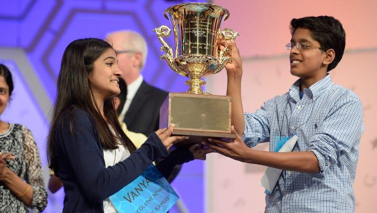 Scripps National Spelling Bee co-champions Vanya Shivashankar,