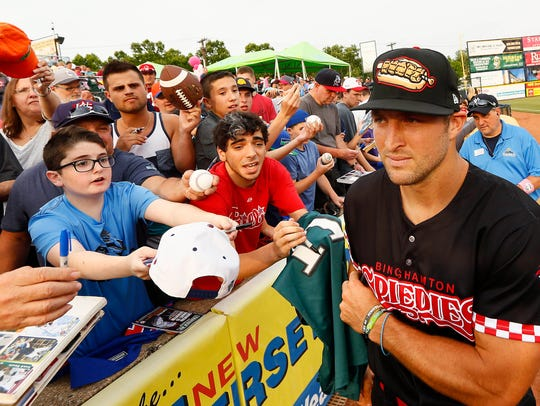 June 8, 2018; Trenton, NJ, USA; Tim Tebow on the field
