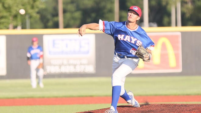 Rustin Hays delivers a pitch to the plate during the Larks' 4-1 win on Friday night at Larks Park.