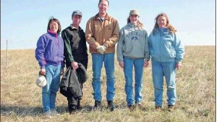 Courtesy photoSetting up plots at Cottonwood Field Station, from left: Dr. Lan Xu, Thomas Nadgwick (range student), Brian Feiler (range student), Nicole Hansen (range student), and Pat Johnson.