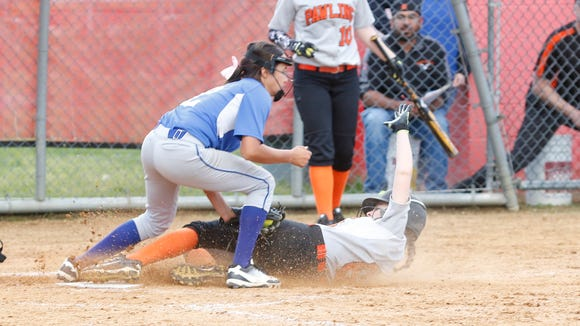 Haldane pitcher Shianne Twoguns (2) puts a tag on Pawling's Sarah Campbell (6) during their 3 - 2 win in the Class C softball section final at North Rockland High School in Thiells on Friday, May 26, 2017.