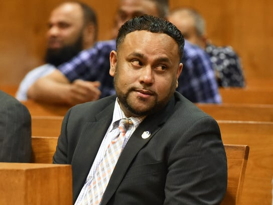 Councilman Shahin Khalique in Paterson court on Friday.