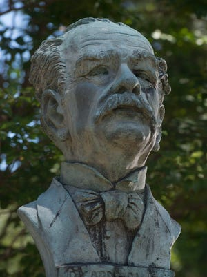 Ricardo Palma bust on display in Miraflores Park off 17th Ave.
