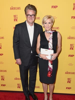 "Television hosts  Joe Scarborough and  Mika Brzezinski attend ""The Americans"" season 5 premiere at DGA Theater on February 25, 2017 in New York City.  ("