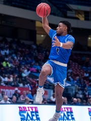 Georgiana's Christian Williams shoots against Sacred Heart in their AHSAA State Championship Game at Legacy Arena in Birmingham, Ala. on Thursday March 1, 2018.