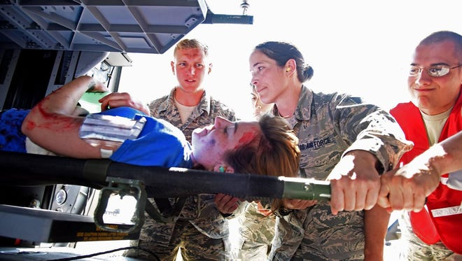 Airmen from Malmstrom Air Force Base and the Montana National Guard tested their capabilities in a mass casualty exercise at Malmstrom Monday.