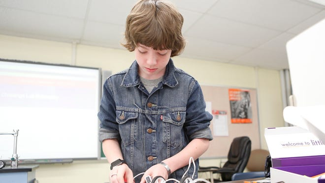 PJ Koesterer, 13, works on a project with LittleBits robotics in the Challange Lab at South Orangetown Middle School in Blauvelt.