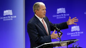 Former president George W. Bush speaks at a forum in New York on Oct. 19, 2017.