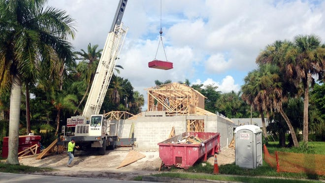 A house under construction at McGregor Boulevard and La Faunce Way in Fort Myers