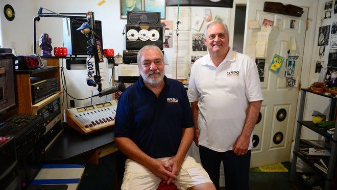 "WRBG 106.5 DJs Bob ""Strech"" Kline and Lou Gaudioso stand in their studio on Wednesday, July 26, 2017 in Millsboro, Del."