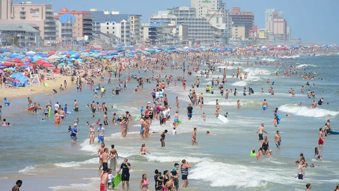 Ocean City beaches are packed, but have a high risk of rip currents after the storm that passed through over the weekend. Tuesday, August 1, 2017.