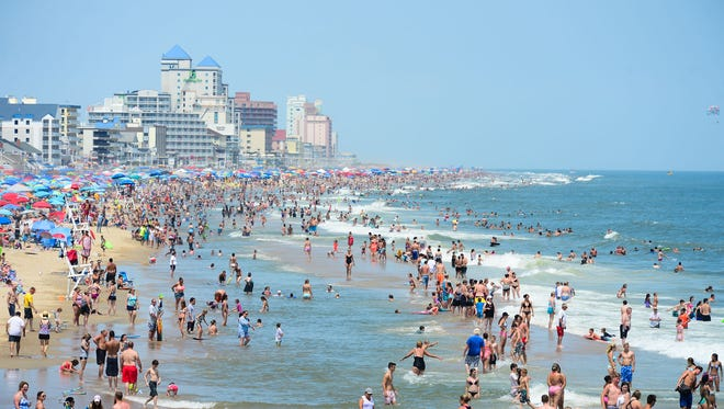 A packed beach in Ocean City on August 1, 2017.