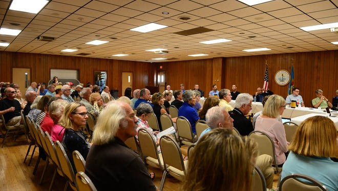 Concerned citizens of Rehoboth assemble at the Rehoboth Beach Volunteer Fire Dept. on Saturday, Sept 17, 2017.  to address issues concerning the construction implementation for the ocean outfall project. Saturday, Sept. 16, 2017