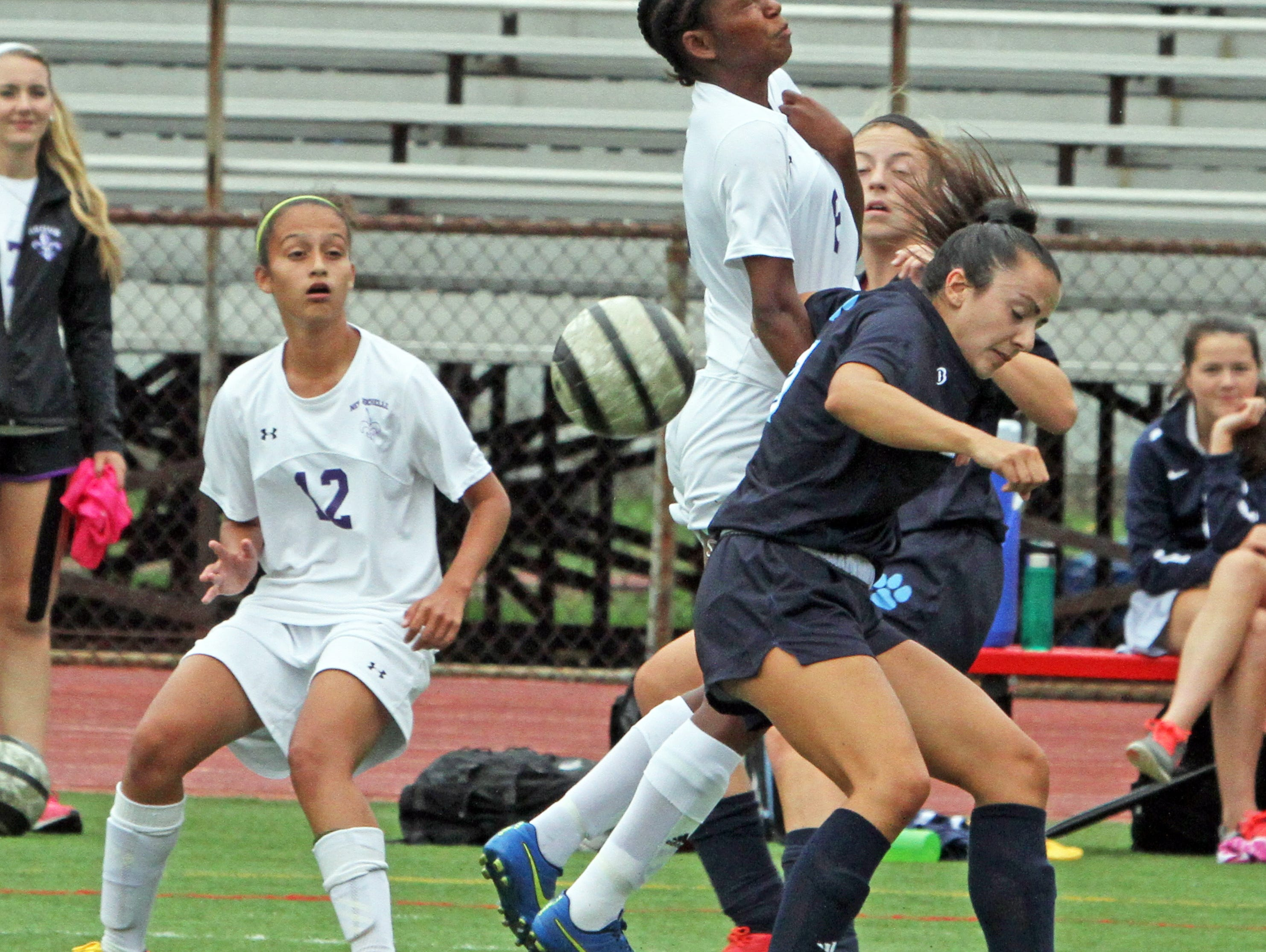 Ursuline and New Rochelle battled each other in a varsity soccer match at New Rochelle High School Sept. 30, 3015.