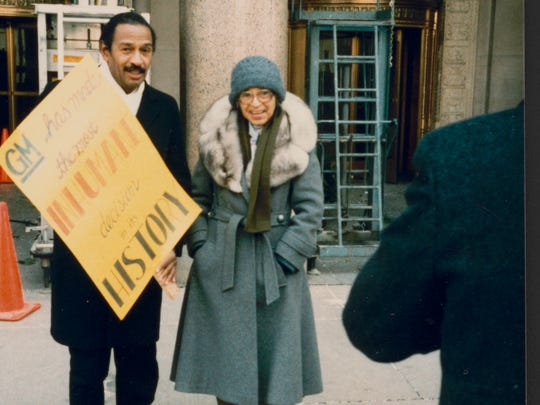 Rosa Parks and U.S. Rep. John Conyers in Detroit circa 1990. She worked in the Democrat's office until 1988.
