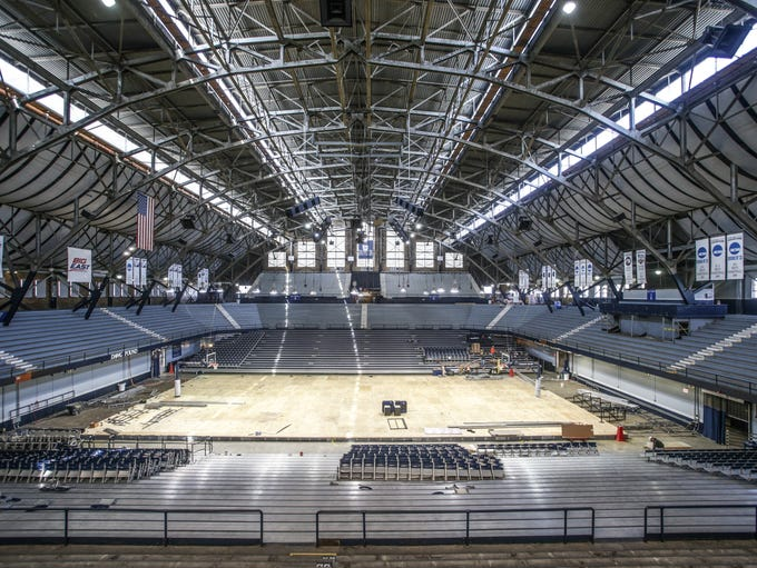Thursday April 17th, 2014, Butler's basketball court is covered with a layer of protective ply wood during renovations. Butler University's Hinkle Fieldhouse under goes renovation.