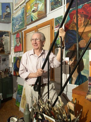 Artist Bela Petheo in his home studio. Petheo completed more than 1,400 paintings. The St. Cloud artist died Wednesday at age 83.