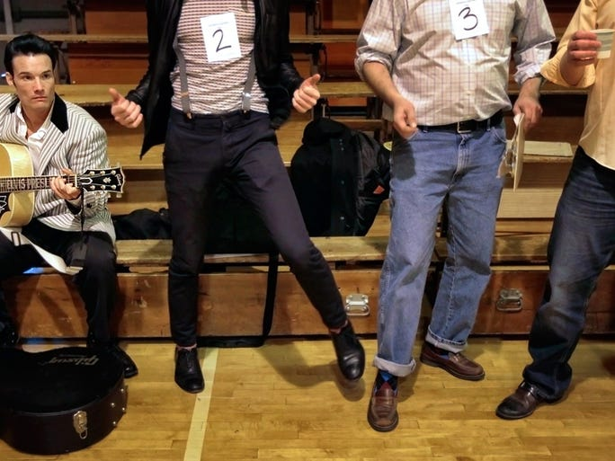 February 13, 2016 - Leo Days (left) strums away as old rock-n-roll plays on the loudspeaker getting an auditorium full of would-be-TV-stars in the mood to audition for CMT's Million Dollar Quartet Series Saturday morning at Humes Preparatory Academy.