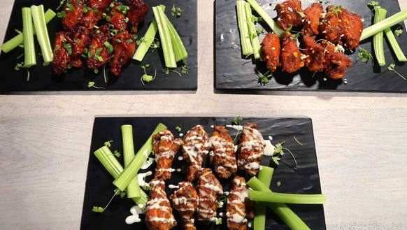 Sriracha Bourbon, Buffalo and Barn Burner wings from