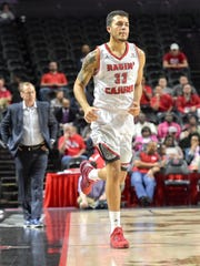 UL's Larenz Stalcup checks into a game in which he had nine rebounds and four blocks as the Cajuns beat South Alabama on Monday night.