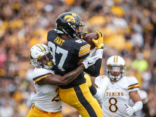 Iowa sophomore tight end Noah Fant goes up for the