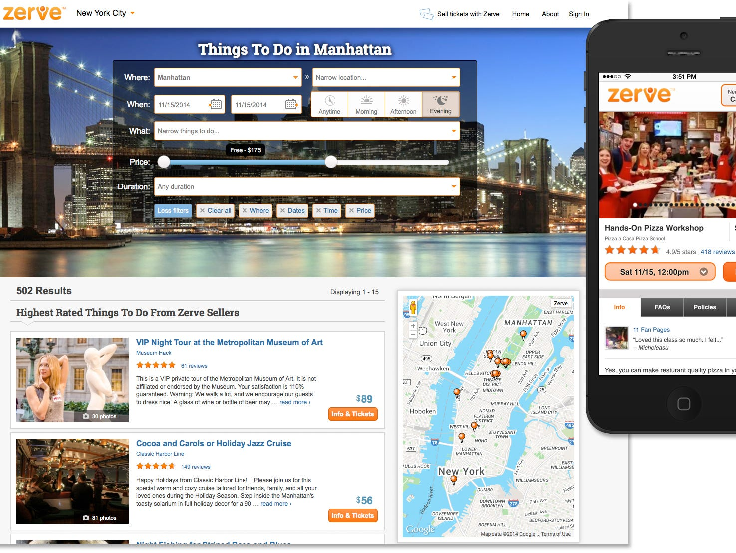 Lastly, a combined image of the two screenshots showing   the Zerve online services' Manhattan browsing page and an iPhone showing Zerve's mobile product page for the Hands-On Pizza Making Workshop in Manhattan.