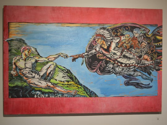 """""""First Contact"""" is a woodblock print by Louis Still"""