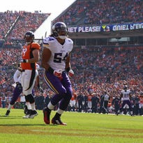 Minnesota Vikings inside linebacker Eric Kendricks (54) celebrates a sack during an NFL football game between the Denver Broncos and the Minnesota Vikings, Oct. 4, in Denver.