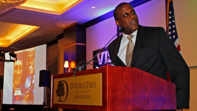 Ty Muse gives a speech during the Greater Binghamton Chamber of Commerce's 52nd annual dinner and meeting in Binghamton on Tuesday, May 17, 2016.