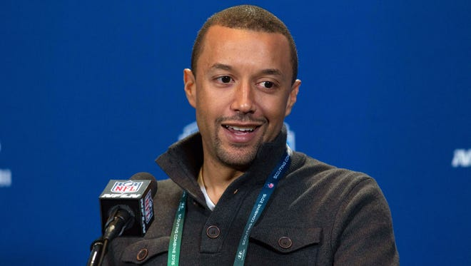 Cleveland Browns executive vice president of football operations Sashi Brown speaks to the media during the 2016 NFL Scouting Combine at Lucas Oil Stadium.