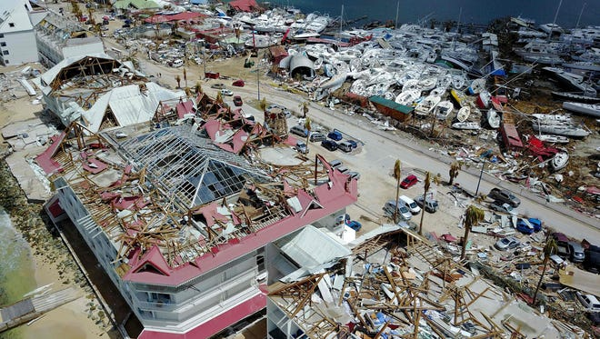 An aerial view shows extensive damage to houses and businesses in St. Martin on Sept. 15, 2017, days after Hurricane Irma struck this Caribbean island.