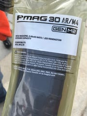 One of the 1,200 30-round polymer magazines handed out in Vermont on Saturday, March 31, 2018. The magazines can be used for AR-15 and M4 weapons.