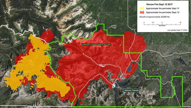 An updated map of the Kenow Fire from Parks Canada shows its proximity to the town of Waterton.