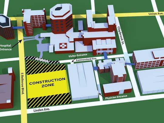 Methodist University Hospital campus map with Eastmoreland