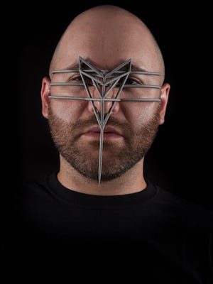 Artist Zach Blas is pictured here with his 2015 design, Face Cage #1. Blas and his artwork will be at the Corbett Center Student Union Auditorium March 27 as part of New Mexico State University's Pride Season events.