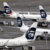Alaska Airlines jets at Seattle-Tacoma International Airport on March 24, 2015.