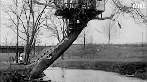 Just a Love Nest, a 1928 Film by British PATHE; LOVE NEST, Hallam, PA, USA (Frame from YouTube v=0Z73LGZqcQ8)