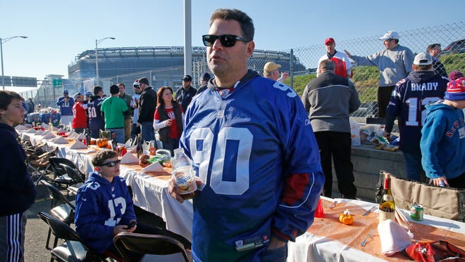 Steve Margolis of Rye Neck at a tailgate party before the New York Giants and New England Patriots game at East Rutherford, New Jersey on Nov. 15, 2015.