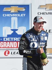 Graham Rahal celebrates his victory at Race No. 2 of the Chevrolet Detroit Grand Prix in 2017.